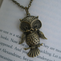 Owl necklace- Cute owl necklace-Antique brass owl necklace- Bird- Nature- Fashion- Summer accessory- Owl on a branch necklace