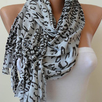 SALE - Light Grey and Black Leopard Scarf