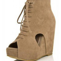 TAUPE JUST ZIP IT UP LACE UP BOOTIE WEDGE @ KiwiLook fashion