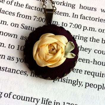 Purple and Cream Embroidered Rose Pendant Necklace - Silk Ribbon Embroidery by BeanTown Embroidery