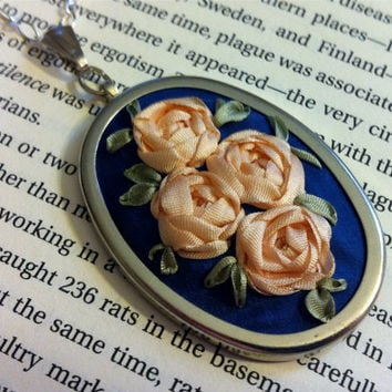 Peach Roses Pendant - Silk Ribbon Embroidery by BeanTown Embroidery