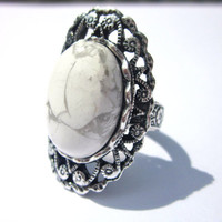 Victorian Ring- White Howlite Natural Gemstone, antiqued silver plated, adjustable