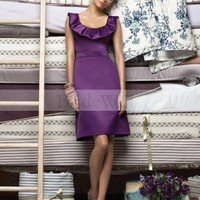 Bridal Party Dresses - Sheath / Column Scoop Ruffles Sleeveless Knee-length Satin Cocktail Dresses / Homecoming Dresses @adress191 - Homecoming Dresses - Event Dresses - Special Occasion Dresses - Affordable Wedding Dresses Manufacturer