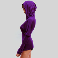 Purple Hooded Top With Extra Long Sleeves