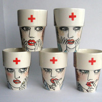 Astonished Nurse - Handpainted earthenware mug  - ready to ship