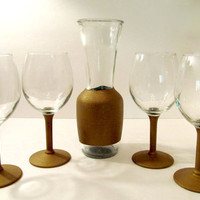 4 Wine Glasses & 1 Decantor with Gold Chalk Board detail