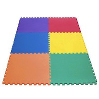 "eWonderworld 24"" X 24"" X ~5/8"" Thick Rainbow Play Mats (Set of 6)"
