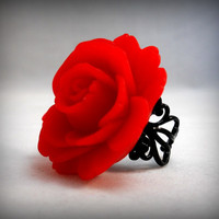 Red Rose Ring on Black filigree Gothic Wedding