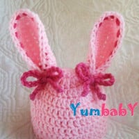 Christmasinjuly sale BUNNY HAT - Easter bunny hat - READY to Ship - baby bunny hat - bunny ears hat -3-6 month size