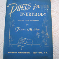 Vintage Music Book Duets for Everybody by Franz Mittler
