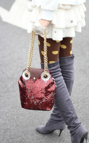 Super Cute Burgundy Sequins Owl Handbag.Tote. Fashionista Weekend Bag