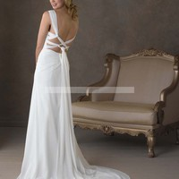 Bridal Party Dresses - A-line Straps Ruffles Sleeveless Sweep / Brush Train Chiffon Wedding Dresses For Brides @YSP0135 - Beach Wedding Dresses - Wedding Dresses - Wedding Apparel - Affordable Wedding Dresses Manufacturer