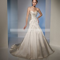 Bridal Party Dresses - A-line Sweetheart Embroidery Sleeveless Court Trains Satin Wedding Dresses For Brideses @YSP0133 - Wedding Dresses - Wedding Apparel - Affordable Wedding Dresses Manufacturer