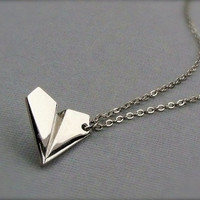 One Direction - PAPER AIRPLANE - Harry Styles Inspired Unisex Paper Airplane Necklace Directioner 1D uk Boy Band - Ready To Ship NOW