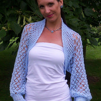 Wedding bolero shrug/ Crochet lace light blue bolero shrug