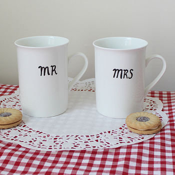 personalised 'mr' and 'mrs' moustache mugs by mr teacup | notonthehighstreet.com
