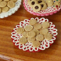 Dollhouse Miniature Peanut Butter Cookies on Red Pedestal Platter - 1/12th Scale
