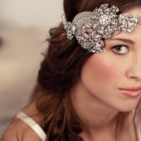 Bridal Crystal Rhinestone Halo Headband - As Seen On Oregon Bride Magazine&#x27;s Website