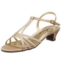 Annie Shoes Women`s Enrica Evening Sandal,Gold Satin,10 W US