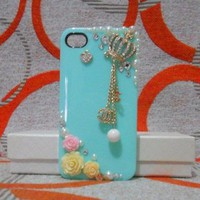 Handmade 3D Rhinestone Pearl Flower and Crown CC Pendant Hard Back Case Cover for iPhone 4 4S Light Green with Button Sticker