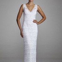 David`s Bridal Wedding Dress: Beaded Stretch Lace Sheath with Tank Bodice Style 642636D
