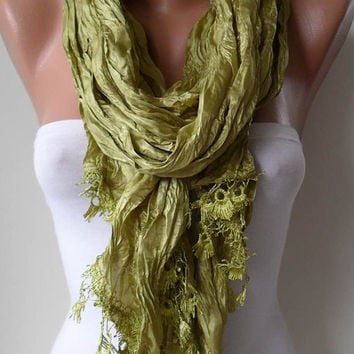 SALE - Pistachio Satin Scarf with Pistachio Trim Edge