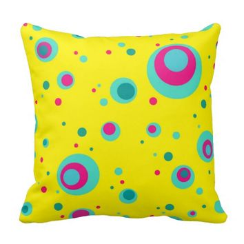 Colorful bubbles whimsical design Throw pillow