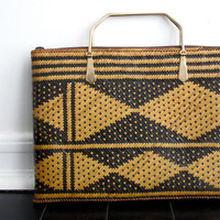 Vintage Woven Purse with Brass Handles, Tribal, Clutch, Thin, Boho