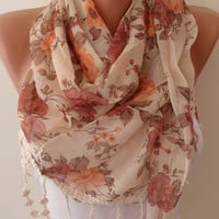 Vintage Style - Linen Scarf - with Beige Trim Edge...