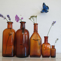 Antique Amber Apothecary Bottle Collection, Set of 5, Rustic Home and Wedding Decor