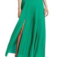 BCBGMAXAZRIA Women`s Dillon Paneled Pleated Maxi Skirt