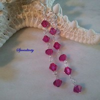 3 inch  Fuchsia Swarovski Crystal Earrings Dangle