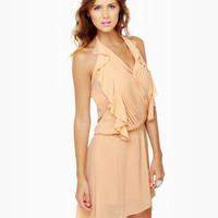Cute Peach Dress - Halter Dress - High-low Dress - $49.00