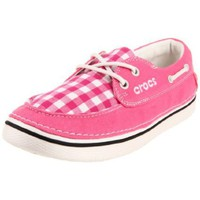 crocs Women`s Hover Gingham Boat Shoe,Hot Pink/Oyster,11 M US