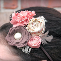 Coral, Brown, and Cream Fabric Floral Headband, Hair Clip, Brooch