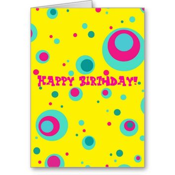 Colorful bubbles whimsical design Greeting card