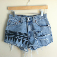 tribal print &amp; distressed high-waisted cutoffs