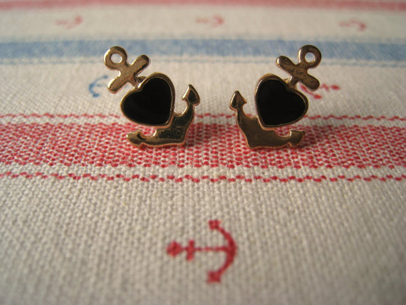 Nautical Earrings (Anchor Earrings) - Black
