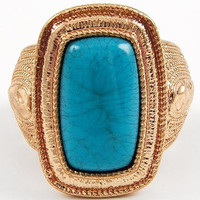 Adjustable Turquoise Gold tone cocktail ring/ One size fits all