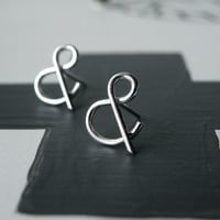 You and Me - Ampersand silver modern stud earrings - Mother&#x27;s Day gift