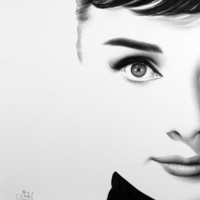 Audrey Hepburn  Fine Art Archival High Quality Cotton Paper Print Pencil Drawing Portrait  Hand Signed by the Artist