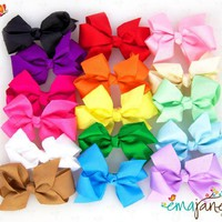 Ema Jane - Cute Set of 15 Assorted Boutique Quality `Ema Jane` Grosgrain Baby Hair Bow Clips (Headbands Not Included) - Perfect for Girls, Youth, Toddlers, Newborns