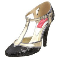 Bordello By Pleaser Women`s Cabaret-01 T Strap Pump,Black Sequins,12 M US