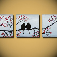 paintings on canvas, Large Abstract love bird original art, tree with red flowers, 60 20 inches bedroom wall decor, ready to hang handmade