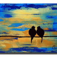 Original Painting Love Birds Wall Art Sky Blue Gold Heavy Texutre Impasto Metalic Mixed media Birds Unique One of a kind Canvas Wedding Gift