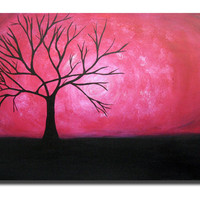 Magenta Pink Tree Large 36x24 Acrylic on canvas painting gallery wrapped and ready to hang ORIGINAL ABSTRACT Brown wall art by Orit