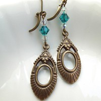 Victorian Antique Brass Turquoise Crystal Earrings