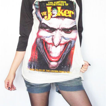 THE JOKER The Further Adventures Classic Movie Long Sleeve Women Shirt Men Shirt Unisex Shirt 3/4 Sleeve Jersey Raglan Baseball Shirt Size M