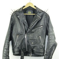 Studded Leather Biker Jacket | L