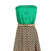 Zig-Zag Belted Tube Dress